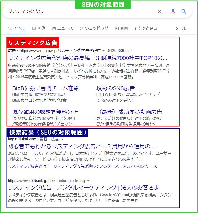 リスティング広告_検索結果