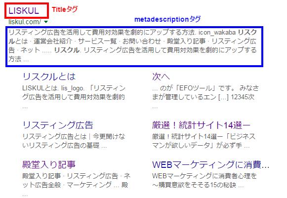 titleとmetadescriptionタグがどこに表示されるか?