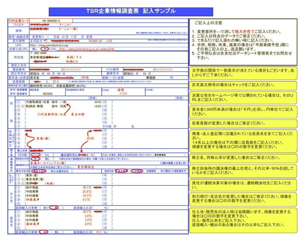 企業情報調査票